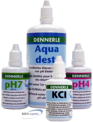 EichSet Dennerle pH4, pH7, KCL je 50 ml u. dest. Wasser 250 ml