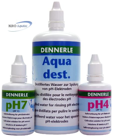 EichSet Dennerle pH4, pH7 je 50 ml u. dest. Wasser 250 ml